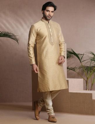Beige traditional cotton silk kurta suit