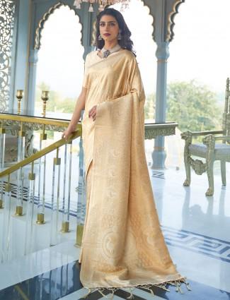 Beige wedding wear semi banarasi silk saree