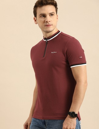 Being Human maroon hue casual t-shirt