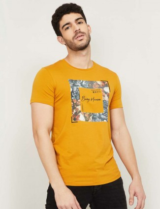 Being Human mustard tint casual t-shirt in cotton