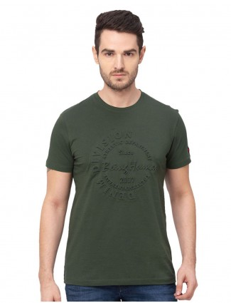 Being human olive emboss print cotton t-shirt