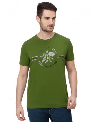Being human printed green cotton t-shirt