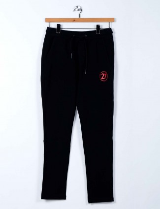 Being Human simple black cotton track pant