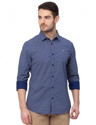 Being Human slim fit printed navy shirt