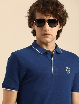Being Human solid blue t-shirt for casual look
