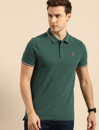 Being Human solid style green cotton casual t-shirt