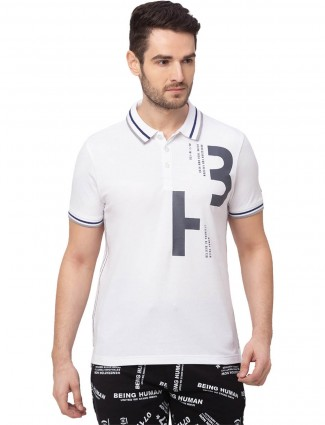 Being Human white casual t-shirt in cotton