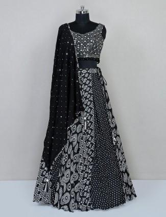 Black aabla work lehenga choli in georgette