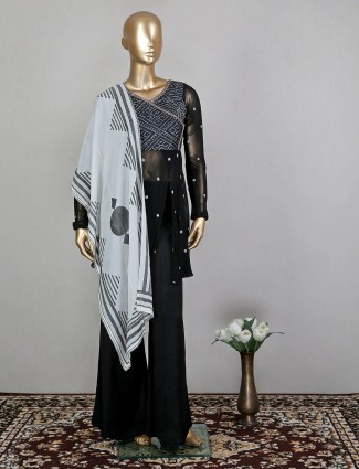 Black adorable georgette palazzo suit for wedding sessions