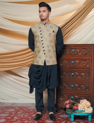 Black and beige silk mens waistcoat set