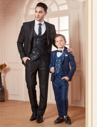 Black and blue hue terry rayon father son coat suit