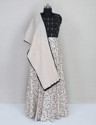 Black and white cotton floor length anarkali suit