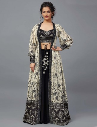 Black and white jacket style indowestern suit in georgette