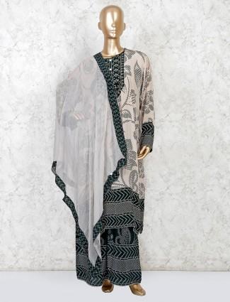 Black and white kurti in cotton