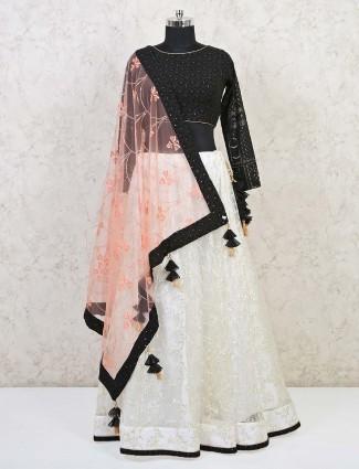 Black and white net lehenga choli for wedding