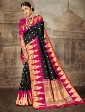 Black banarasi silk wedding wear saree