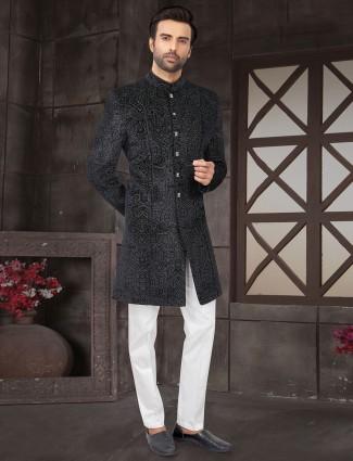 Black brasso pattern cotton silk indo western