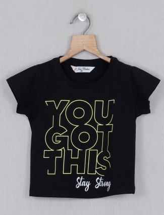 Black casual cotton printed girls top