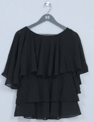 Black casual top for women in cotton