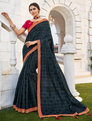 Black checks saree with red embroidered blouse piece