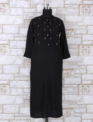 Black color cotton casual kurti