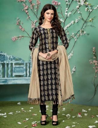 Black color cotton silk salwar kameez