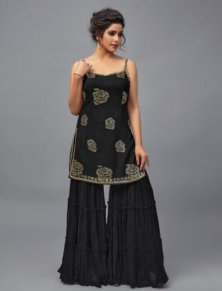Black color georgette festive wear sharara salwar suit