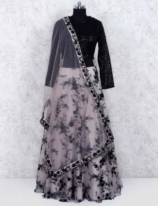 Black color net lehenga choli