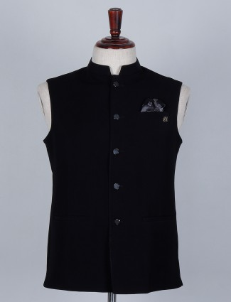 Black colored solid waistcoat in terry rayon