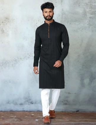 Black cotton fesitve wear kurta suit