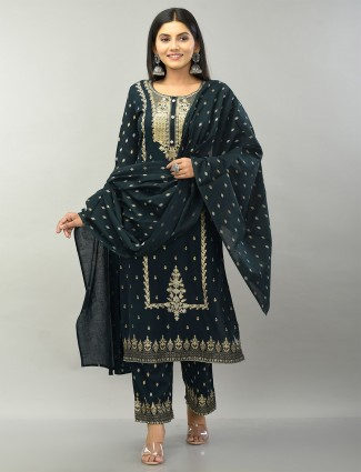 Black cotton palazzo suit for festive functions