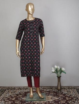 Black cotton pant style salwar suit for festives