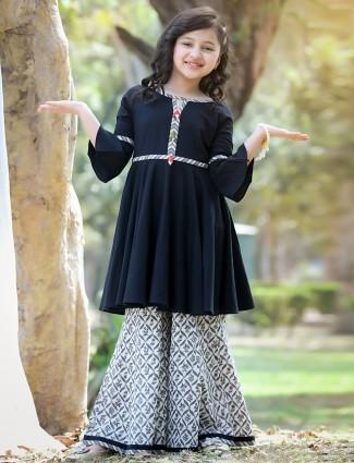 Black cotton printed festive wear palazzo suit