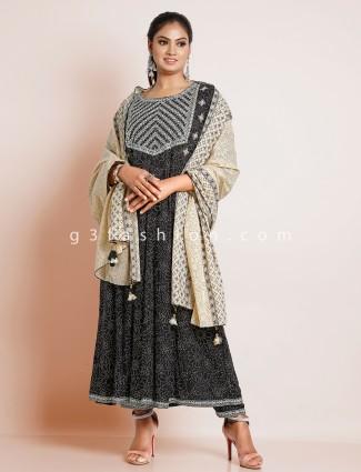 Black cotton punjabi style festive occasions pant suit