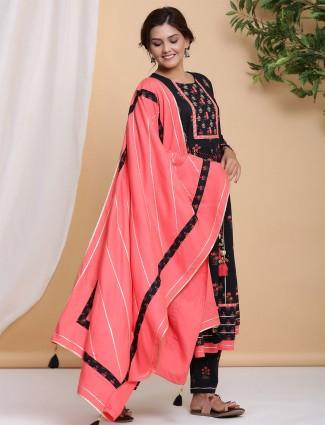 black cotton punjabi style festive wear pant suit
