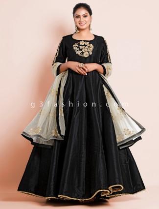 Black cotton silk designer floor-length anarkali suit