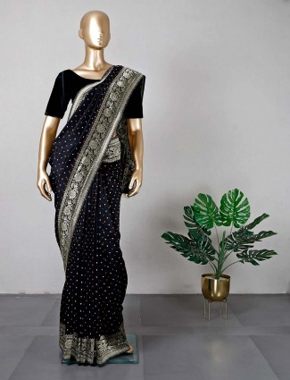 Black cotton silk festive wear saree for women
