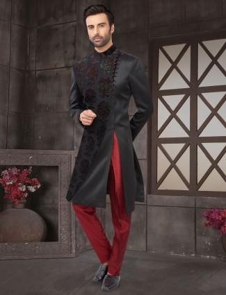 Black cotton silk wedding indo western