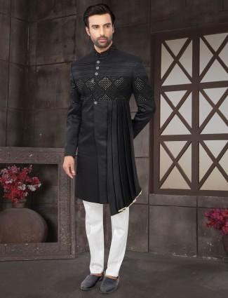 Black cotton silk wedding wear indo western