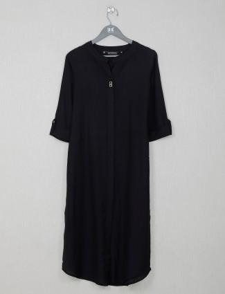 Black cotton solid casual wear kurti