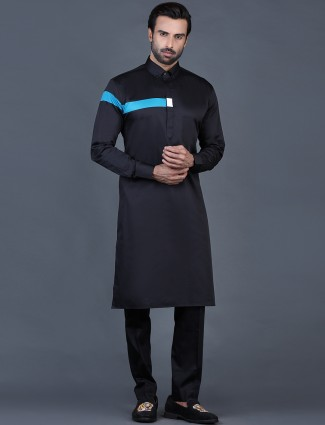 Black cotton solid men pathani suit for festive occasions