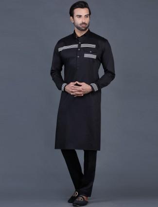 Black cotton solid mens pathani suit for festive