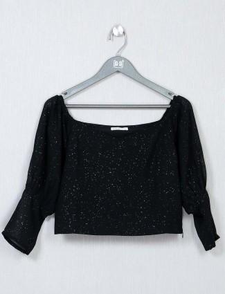 Black crepe casual top
