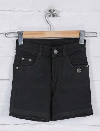 Black denim casual wear shorts