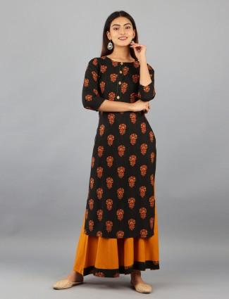 Black designer cotton festive events punjabi style palazzo suit