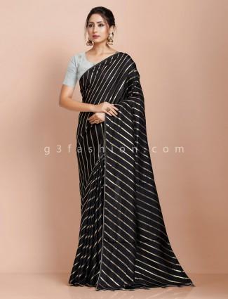 Black dola silk party saree