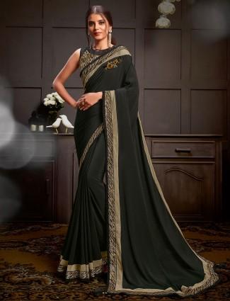 Black embroidered satin georgette wedding reception saree design