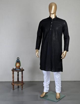 Black festive function georgette kurta suit