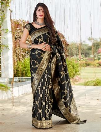 Black festive wear banarasi silk saree
