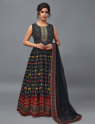 Black floor length suit in patola silk for festivals